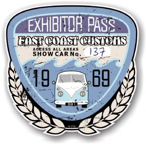 Aged Vintage 1969 Dated Car Show Exhibitor Pass Design Vinyl Car sticker decal  89x87mm